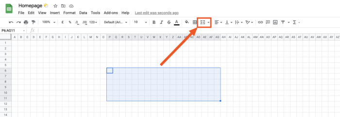 An area of a spreadsheet selected with an arrow pointing to the merge cells shortcut