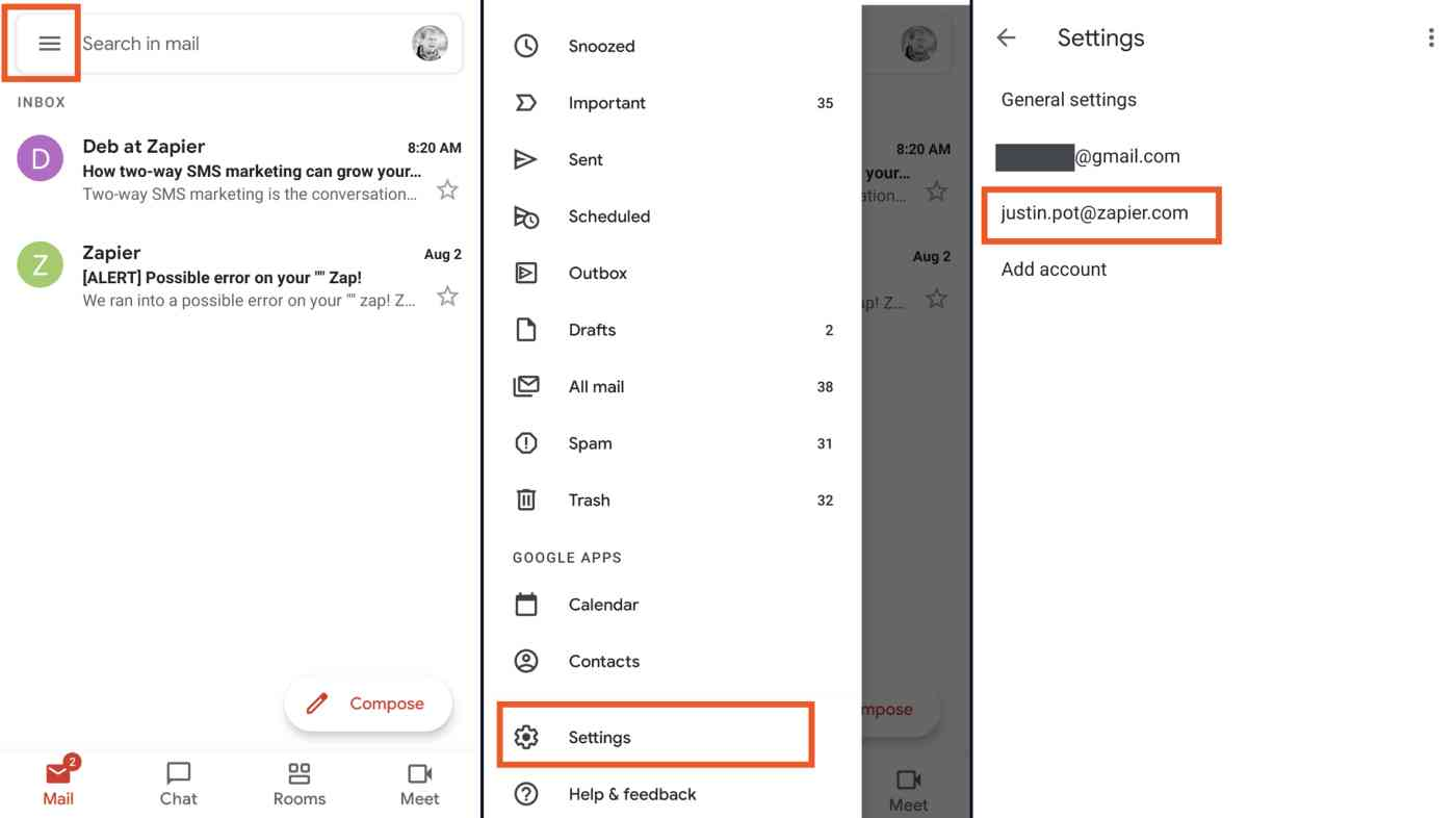 Finding your settings in mobile Gmail