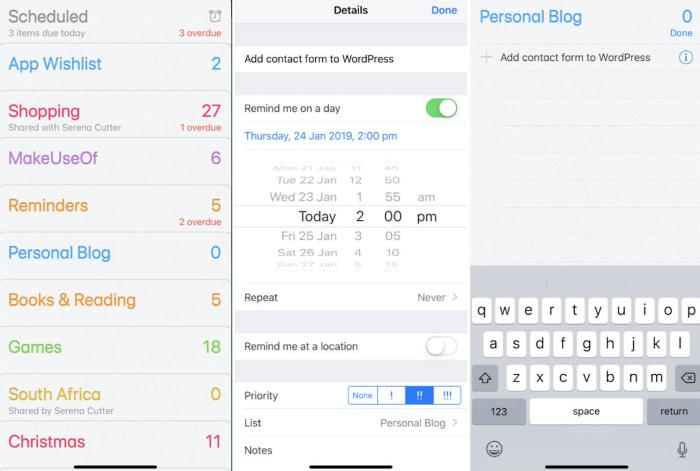 Apple Reminders screenshots