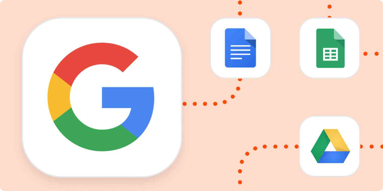 The Google logo, connected with orange dotted lines to the logos for Google Docs, Google Sheets, and Google Drive.