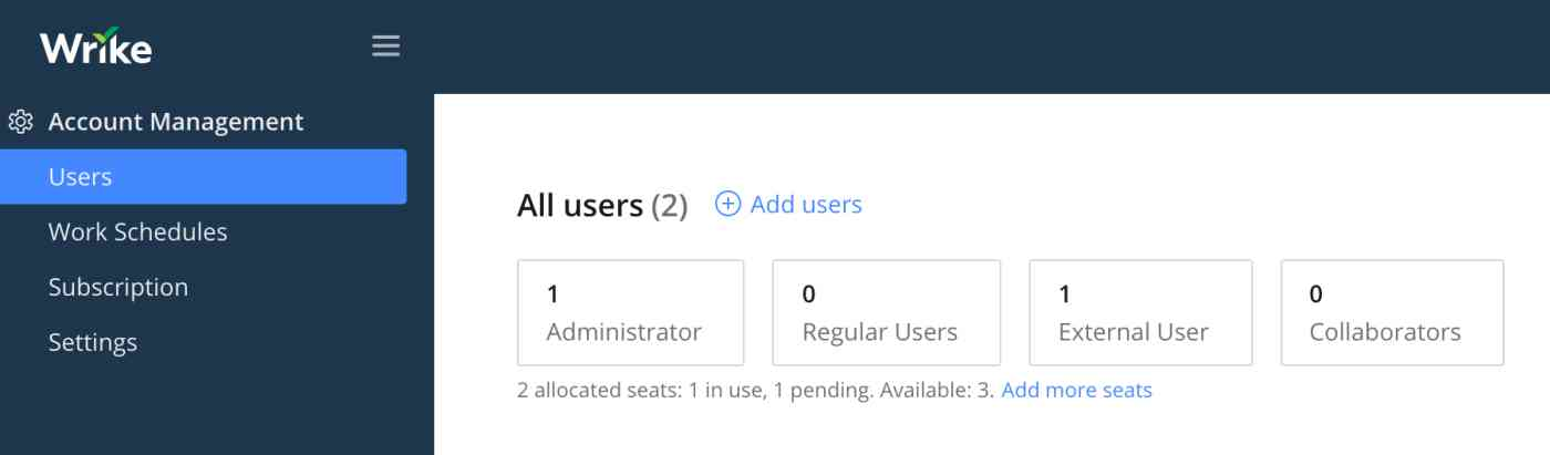 Users section of Wrike