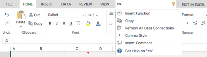 Find tools via search in Excel