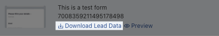 """A screenshot from the TikTok list of forms showing an image of the form, its title, and ID number. The text reading """"Download Lead Data"""" is highlighted."""