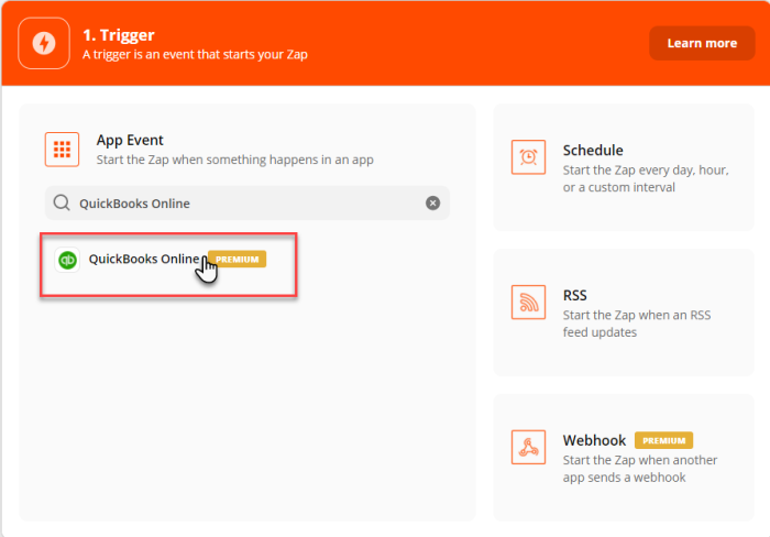 """Search result for """"Quickbooks Online"""" within trigger set-up page, under App Event."""