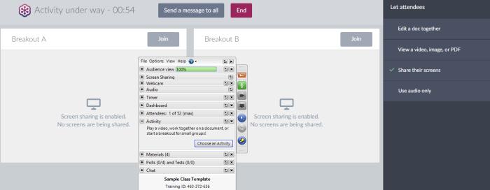GoToTraining breakout session interface