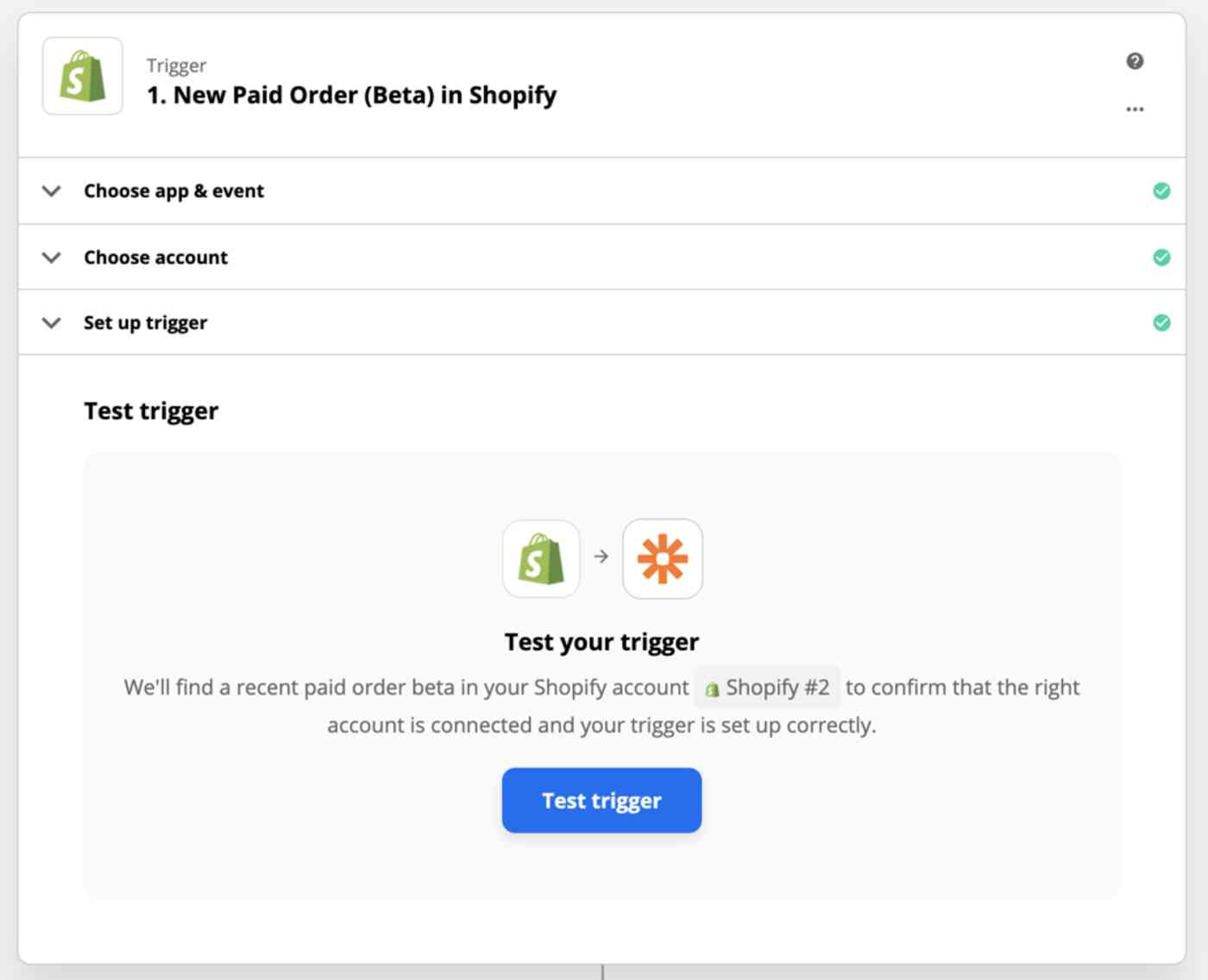 New Trigger set-up page: 1. New Paid Order (Beta) in Shopify