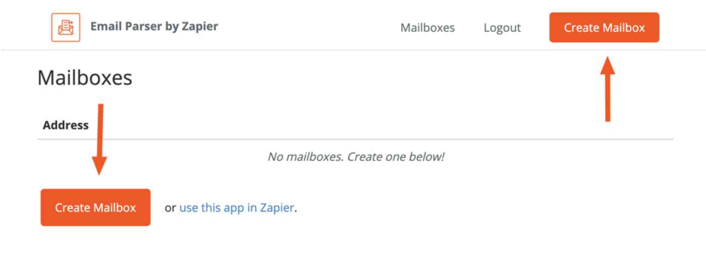 """Create Mailbox"" button appears in the top right and lower left of Zapier's Email Parser set-up page."