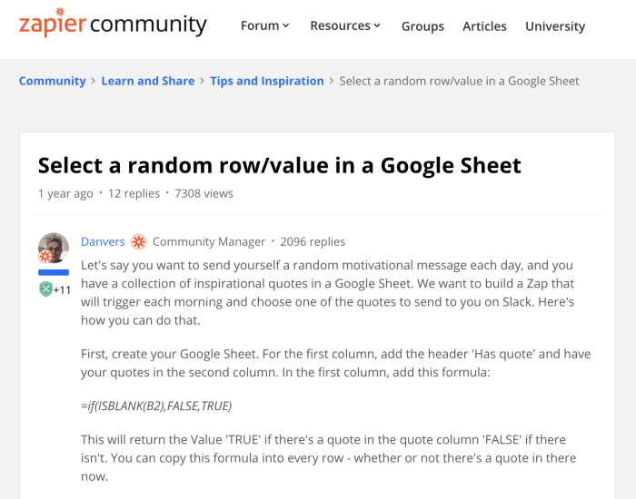 An article by Danvers in the Zapier Community