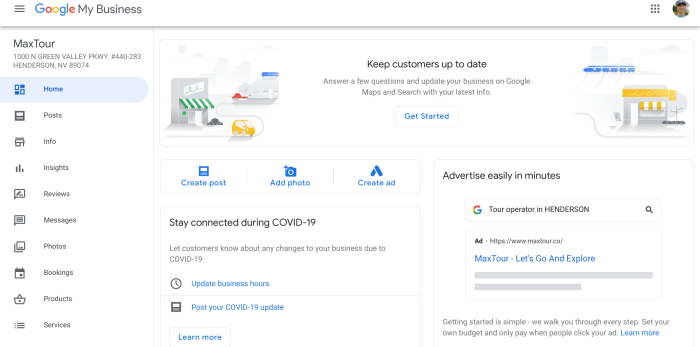 Inside the Google My Business web app