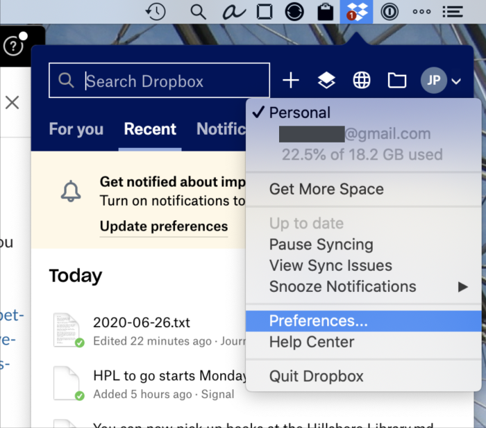 Finding the Dropbox preferences