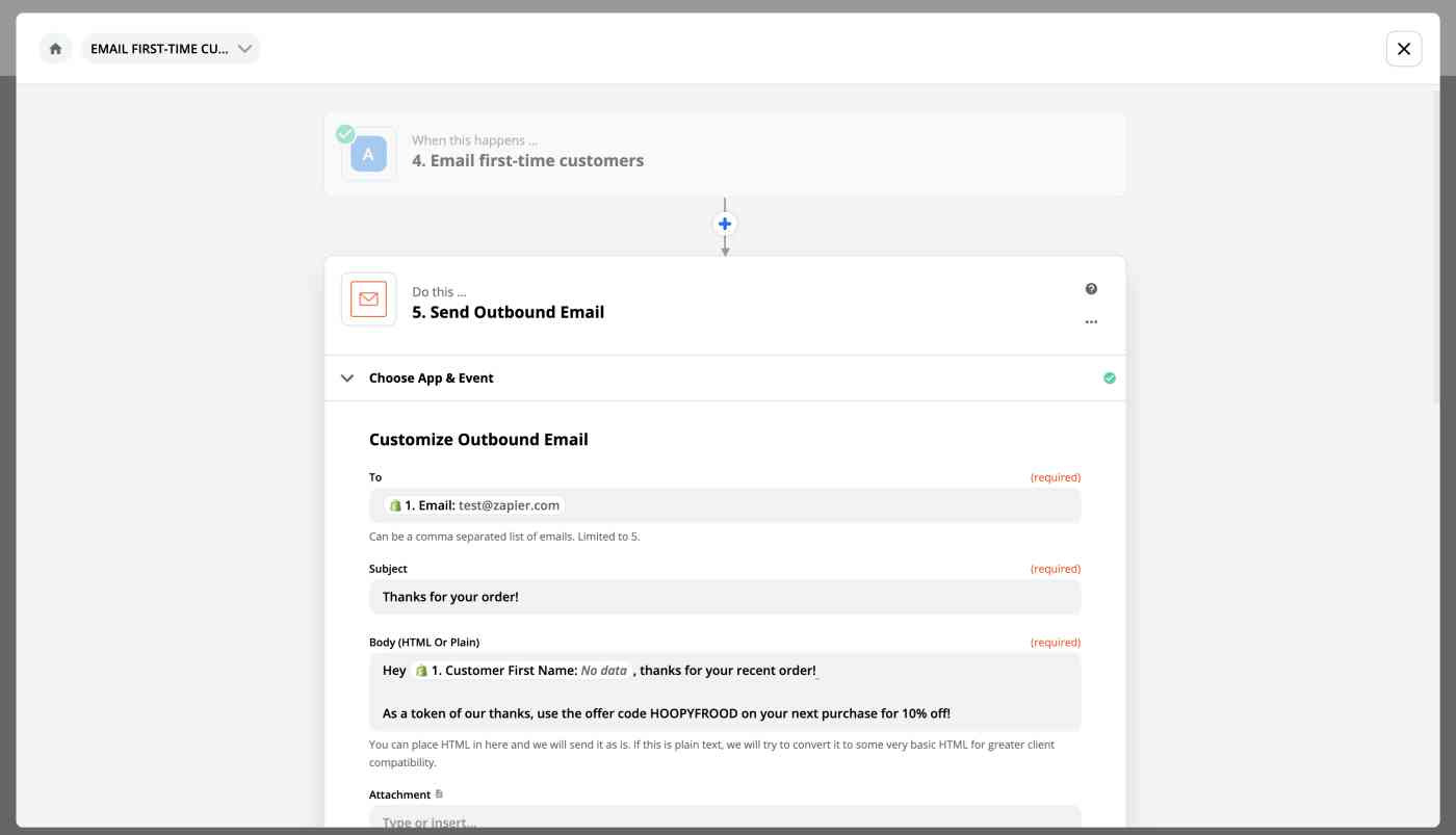 Setting up a Send Email action to follow the rules set for the Path.