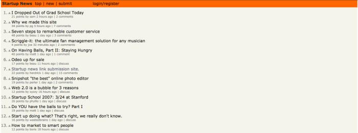 hacker news homepage