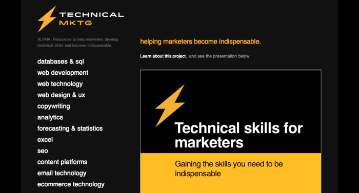 Technical Mktg is a database of tools and educational resources to help marketers develop important tech skills.
