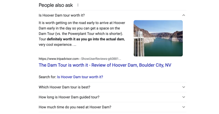 """The People Also Ask box with the first question (""""Are Hoover Dam tours worth it?"""") expanded"""