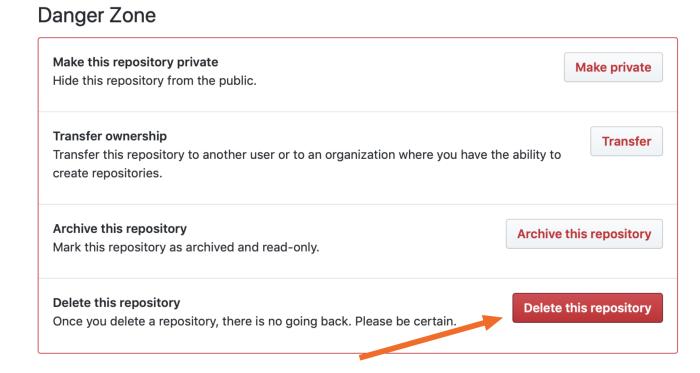 Click Delete this repository