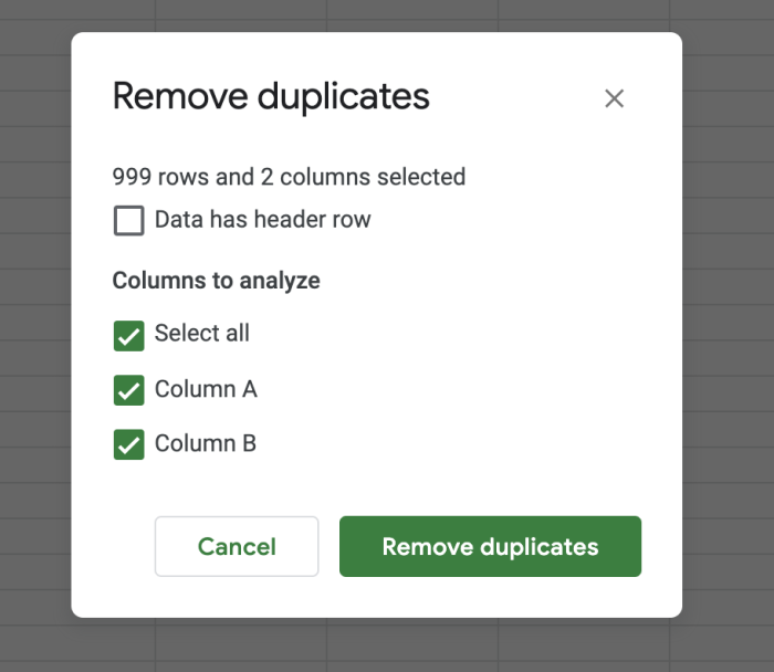 Selections for removing duplicates