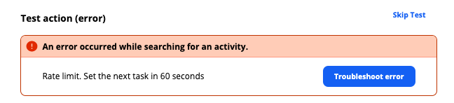 Error message for rate limit