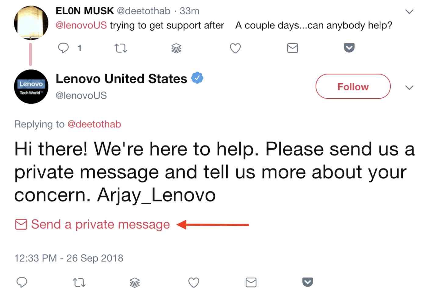 Send a private message button
