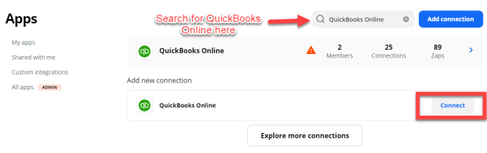 """Click """"Connect"""" in the bottom right corner after searching for """"Quickbooks Online"""""""