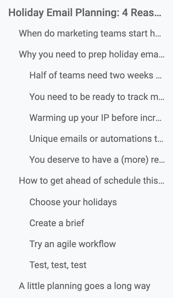 Outline in Google Docs