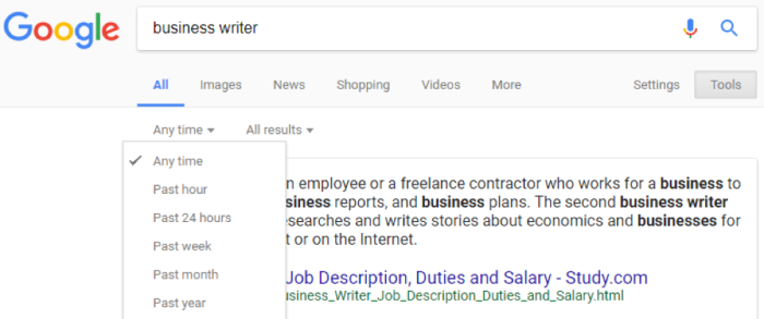 Use Google search tools to narrow down timeframe for the search results