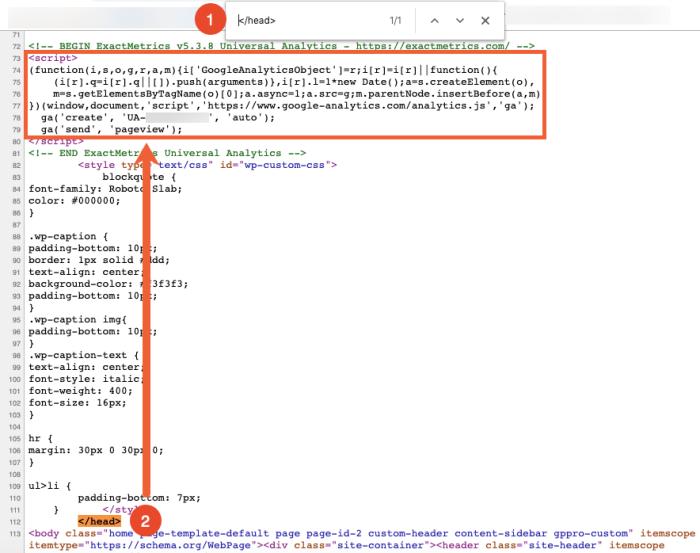 find Google Analytics code in page source