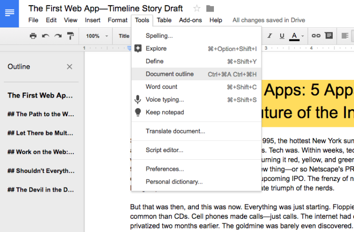 Google Docs Document Outline