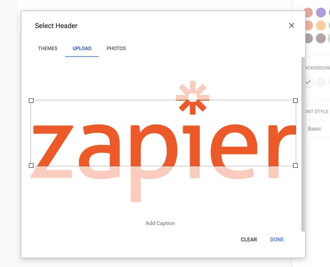 Zapier logo not fitting on Google forms header