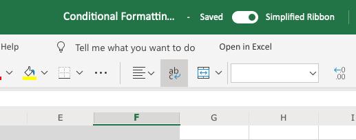 Deshabilite la funcionalidad de cinta simplificada en Excel