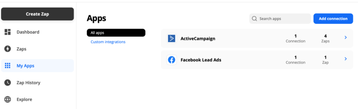"""A screenshot of the app connections area of a Zapier account. In the upper right corner is a blue button that reads """"Add connection."""""""