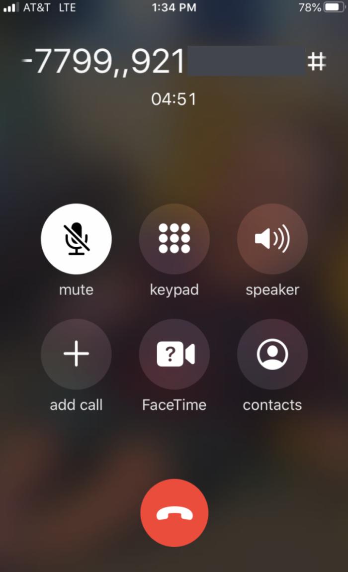 Una captura de pantalla de mi teléfono durante la reunión.