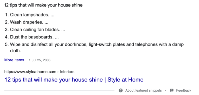 The featured snippet when someone searches how to make your house shine