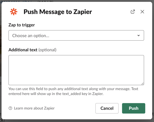 """The Push Message to Zapier interface with fields for """"Zap to trigger"""" and """"Additional text."""""""