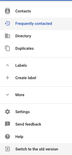 Google Contacts old version