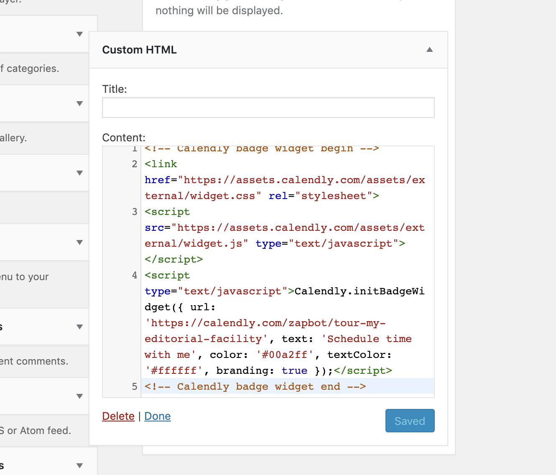 Calendly widget in WordPress