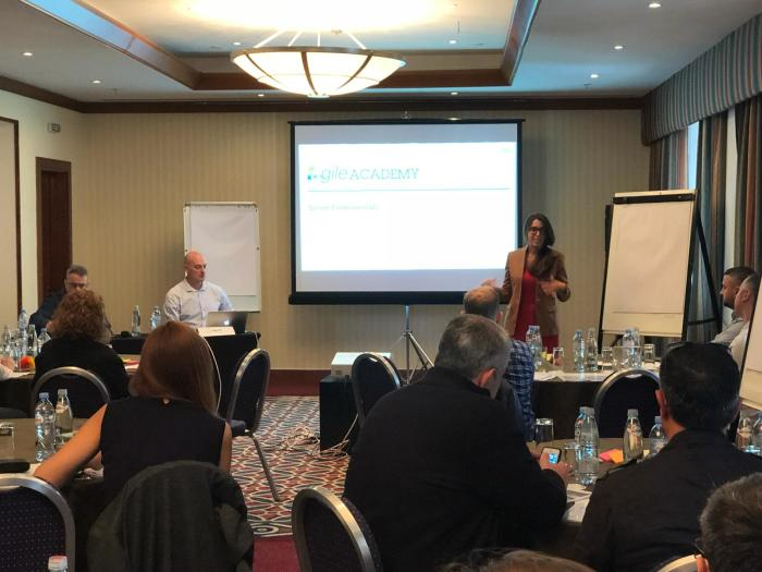 Leigh giving a presentation