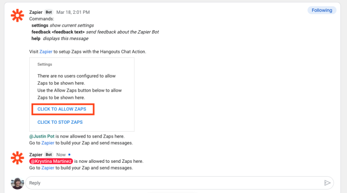 A screenshot of the Zapier bot within Google Hangouts Chat showing user permission settings for allowing Zaps.