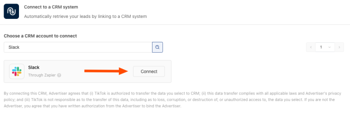 """An arrow points to a button reading """"Connect"""" to the right of the Slack app icon and name, after typing """"Slack"""" into the CRM search field in TikTok Ads Manager."""