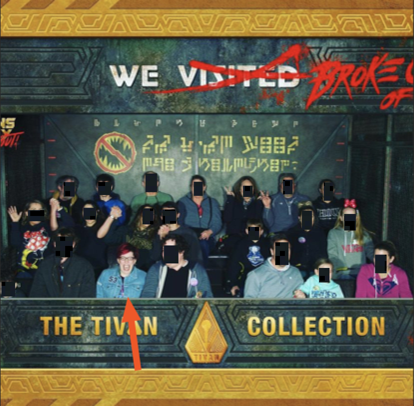 Amanda and others on a roller coaster