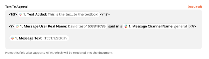 HTML formatting in a Zap, showing tags for headers, <h3>, and italics, <i>, alongside fields pulled in from Slack.