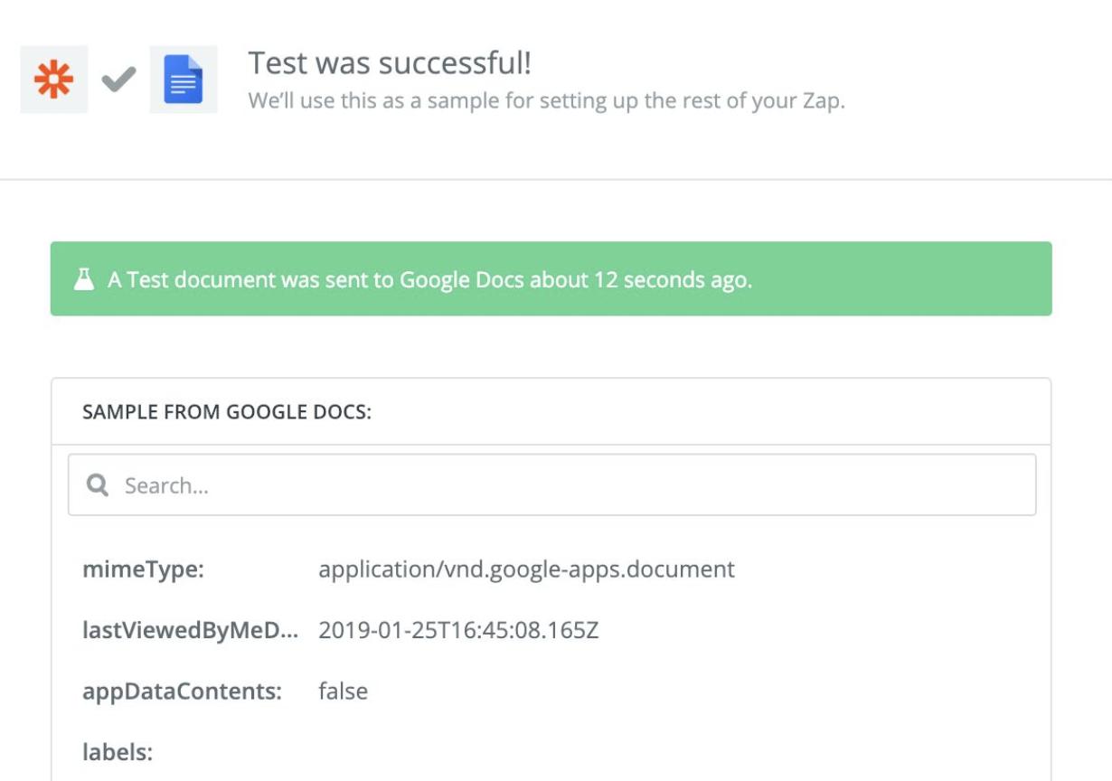 Test success message