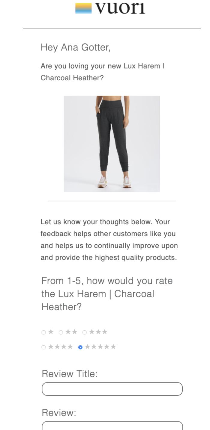 Screenshot from Vuori's customer feedback email