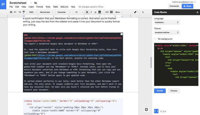 Code Blocks Google Docs