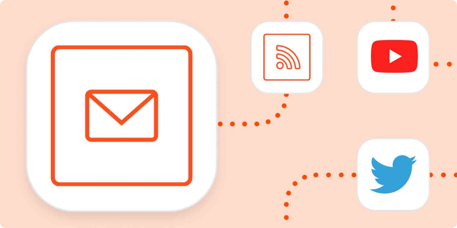 The email by Zapier logo with the logos for RSS, YouTube and Twitter