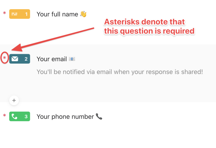 """A screenshot of the Typeform setup screen with an asterisk next to fields and a caption saying """"Asterisks denote that this question is required"""""""