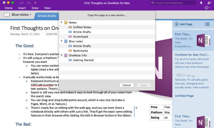 Plantilla de OneNote para Mac