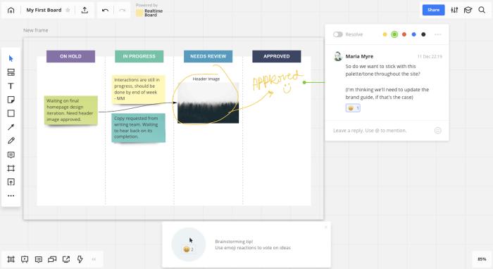 Screenshot of online whiteboard, Miro