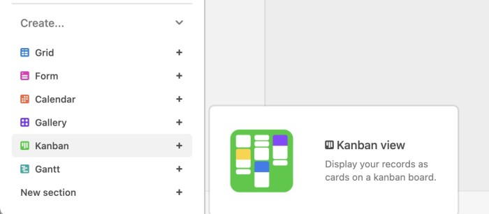 Selecting the Kanban view in Airtable