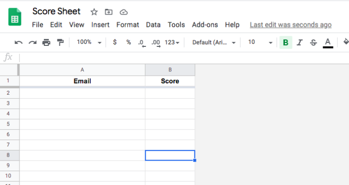 A Google Sheet set up to receive scores from your students.