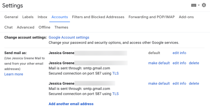 send and receive email from multiple Gmail accounts